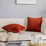 Kevin Textile Set of 2 Pillow Covers Solid Supersoft Corduroy Handmade Decorative Velvet Throw Pillow Cushion Cover for Bed,