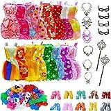 32 PCS Doll Accessories, 10x Mix Cute Dresses, 10x Shoes, 4X Glasses, 6X Necklaces, 2X Fairy Sticks Dress Clothes for Barbie