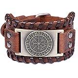 Lemegeton Viking Vegvisir Campass Wide Leather Bracelets for Men, Nordic Runes Vintage Jewelry