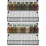 Space Saving Farmhouse Spice Rack Organizer for Cabinets or Wall Mounts - Easy To Install Set of 4 Hanging Racks - Perfect Se
