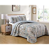 Better Home Style 3 Piece Luxury Lush Soft Blue Taupe Motif Ornamental Floral Printed Design Quilt Coverlet Bedspread Oversiz
