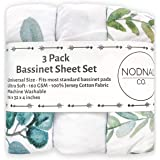 NODNAL CO. Leafy Bassinet Fitted Sheet Set 3 Pack 100% Jersey Cotton for Baby Girl/Boy - Gender Neutral Leafs, Greenery, Flor