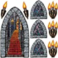 """Beistle 00912 Printed Stairway, Window and Torch Props, 18"""" to 60"""", 9 Pieces in Package"""