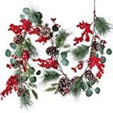 DearHouse 6 FT Red Berry Christmas Garland with Berries Pine Cones Spruce Eucalyptus Leaves Winter Greenery Garland for Holid