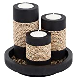 Tealight Candle Holders with Candle Tray Set of 3 Decorative Candle Holders Matte Wood Finish with Small Rope Decoration