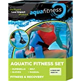 Aqua Fitness Exercise Set - 6 Piece Set - Water Workout and Aerobics - Floatation Belt, Resistance Gloves, Barbells by Aqua L