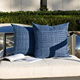 Kevin Textile Pack of 2 Decorative Outdoor Waterproof Throw Pillow Covers Stripe Square Pillowcases Modern Cushion Cases for