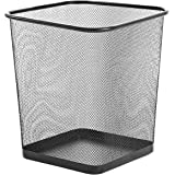 """Zuvo Square Mesh Wastebasket Metal Wire Garbage Trash Can for Office Home Bedroom Height 10.1"""" Width 10"""", 4 Gallon (16 Quart)"""