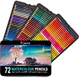 72 Professional Watercolour Pencils, Numbered, with a Brush and Metal Box - Set of 72 Watercolor Pencils, Soluble, Unique and