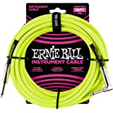 Ernie Ball P06080 Ernie Ball 3 Meters Braided Straight/Angle Inst Cable, Neon Yellow, Neow Yellow, 3 Meters