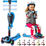 SKIDEE Kick Scooters for Kids 2-12 Years Old - Foldable Scooter with Removable Seat, 3 LED Light Wheels, Back Wheel Brake, Wi