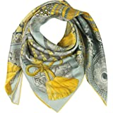 Silk Scarf Square Scarf for Hair Women-Pantonight 100% Pure Silk 14MM Hand Rolling Edge Silk Twill Scarf for Women…, Yellow 4