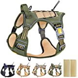 PETAGE Tactical Service Dog Harness No Pull,Reflective Military Dog Harness with Handle, Service Dog Vest with Pet Safety Bel