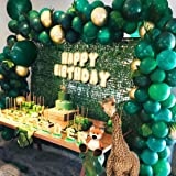 Jungle Theme Party Supplies:143pcs White & Gold & Green Latex Balloons,23 Green Palm Leaves with 16ft balloon strip and 2pcs