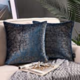 Phantoscope Pack of 2 Bronzing Velvet Decorative Throw Pillow Covers Soft Solid Square Throw Pillow Covers Cushion Cover Pill