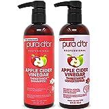 PURA D'OR Apple Cider Vinegar Thin2Thick Set Shampoo Conditioner for Regrowth, Hair Loss, Clarifying, Detox (2 x 16oz) Biotin