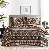 "HONOVA Boho Quilt Set, Southwestern Design Quilted Bedspreads Queen Size 90""x96"" with Birds Pattern Print, Soft Microfiber Li"