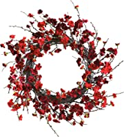 Nearly Natural 4813 Plum Blossom Wreath, 24-inch, Red