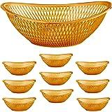"""Large Plastic Rose Gold Bread Baskets - 10pk. Reusable 12"""" Oval Food Storage Basket - Elegant Modern Décor for Kitchen, Resta"""