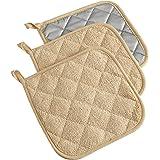 DII 100% Cotton, Machine Washable, Heat Resistant, Everyday Kitchen Basic, Terry Pot Holder, 7 x 7, Set of 3, Sand