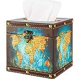 BREIS Retro Tissue Box Cover Holder,Square Waterproof Wooden Vintage Holder Tissue Box Cover Case Napkin Dispenser Fit Office