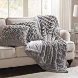 "Comfort Spaces Ruched Faux Fur Plush 3 Piece Throw Blanket Set Ultra Soft Fluffy with 2 Square Pillow Covers, 50""x60"", Grey"