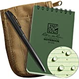 "Rite in the Rain Weatherproof 3"" x 5"" Top Spiral Notebook Kit: Tan CORDURA Fabric Cover, 3"" x 5"" Green Notebook, and an Weath"
