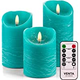 Venta Set of 3 Realistic Flameless Turquoise LED Candles with Remote Control - 4'' 5'' 6'' Electric Wickless Pillar Battery O