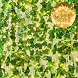 Giftale 168 Feet 24 Strands Artificial Ivy Leaf Plants Hanging Vine with 100 LED 32 Feet String Lights Perfect for Wedding Pa