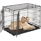 Dog Crate | Midwest ICrate 30 Inch Double Door Folding Metal Dog Crate w/Divider Panel, Floor Protecting Feet & Leak Proof Do