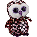 Ty Inc 36673 TY Flippables 6in Reg - CHECKS - Pink/Black Sequin Owl