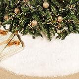 BININBOX Christmas Tree Skirt, 48 Inch Snowy White Faux Fur Xmas Plush Tree Skirt, Winter Large Christmas Tree Mat, Holiday P