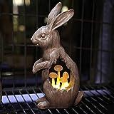 Joyathome Solar Garden Bunny Statues Rabbit with Mushroom Figurine, Solar Powered Resin Animal Sculpture Outdoor Lights for P