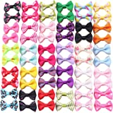 YAKA 60PCS (30 Paris) Cute Puppy Dog Small Bowknot Hair Bows with Rubber Bands (or Clips) Handmade Hair Accessories Bow Pet G