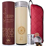 The Love Bamboo Tea Tumbler with Infuser + Strainer 18 oz for Loose Leaf Tea, Coffee & Fruit Water. Vacuum Insulated Travel B
