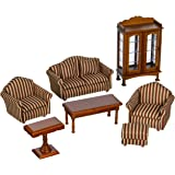 Melissa & Doug Classic Victorian Wooden and Upholstered Dollhouse Living Room Furniture (9 pcs)