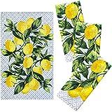 "Franco Kitchen Designers Set of 4 Decorative Soft and Absorbent Cotton Dish Towels, 15"" x 25"", Citrus Lemons"