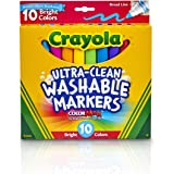 CRAYOLA 58-7855 10ct Ultra-Clean Markers,Bright Neon Colours, Washable, Broad Tip, Colouring Fun, Education, School Project,