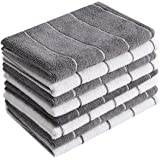 HYER KITCHEN Microfiber Kitchen Towels - 8 Pack Stripe Designed(Match Colors - Soft, Super Absorbent and Lint Free Kitchen To