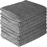 (Pack of 8, Gray) - Gryeer Bamboo and Microfiber Kitchen Towels - Super Absorbent Dish Towels - One Side Ribbed One Side Smoo