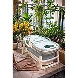 ThermaeStudio®どこでも設置 折りたたみ浴槽 バスタブ 折りたたみバスタブ ポータブル浴槽 全年齢対応 大人 子供 介護用浴槽 カバー付き (125*63*25)