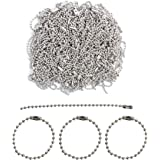 Happy Shop 200 Pcs 100mm Long Bead Connector Clasp Ball Chain Keychain Tag Key Rings,2.4 mm Diameter Adjustable Antiqued Meta