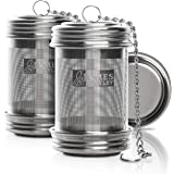 Tea ball Infuser for loose Tea 2 PACK Stainless Steel filters trainer with Double Screw Threaded Connection for Easy Cleaning