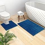 Bathroom Rugs and Mats Set, 2 Piece Chenille Bath Rug Mat Contour Set, Machine Wash Dry, Non Slip Absorbent Shaggy Bath Rug f