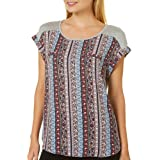 A. Byer Junior's Young Woman's Teen Mixed Fabric T-Shirt