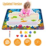Magic Water Drawing Mat, Upgrade Doodle Mat in 7-Colored, Aqua Painting Board Writing Mats with Magic Pen & Big Molds, Best E