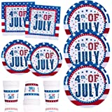 120 PCS Patriotic 4th of July Party Supplies-Plates and Napkins Sets Disposable Dinnerware Set Dinner Paper Plates Napkins Cu