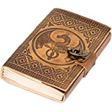 DreamKeeper Journals Leather Journal - Handmade Embossed Notepad with Celtic Design and Bronze Lock - Soft Leather Bound Writ