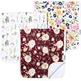 """Baby Burp Cloth Large 21''x10'' Size Premium Absorbent Triple Layer 3-Pack Gift Set""""Scarlet"""" by Copper Pearl"""