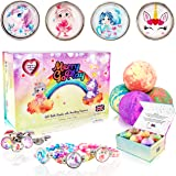 Gift bath bombs for girls with snap-button bracelets inside PLUS Jewelry Box for kids - All Natural with skin moisturizing Sh